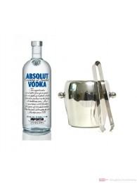 Absolut Wodka 40% 1,0l Vodka Flasche + Eiskübel 1l und Eiszange