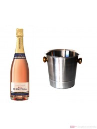 De Saint Gall Brut Rosé Champagner im Champagner Kühler Aluminium poliert 12% 0,75l Flasche