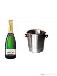 De Saint Gall Champagner Premier Cru Brut Blanc de Blanc im Champagner Kühler Aluminium poliert 12 % 0,75 l. Flasche
