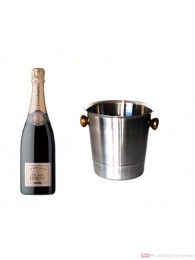 Duval Leroy Champagner Brut im Champagner Kühler Aluminium poliert 12 % 0,75l Flasche