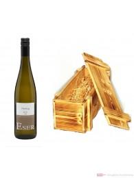 Hans Theo Eser Riesling Classic Qba trocken Weißwein 2010 11,5% 0,75l Flasche in Holzkiste geflammt