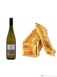 Hans Theo Eser Riesling Qba trocken Weißwein 2009 11,5% 1,0l Flasche in Holzkiste geflammt