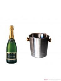 Jacquart Brut Mosaique Champagner im Champagner Kühler Aluminium poliert 12% 0,75l Flasche
