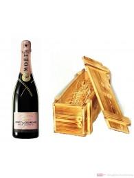 Moet & Chandon Champagner Brut Impérial Rosé in Holzkiste geflammt 12% 0,75l Flasche