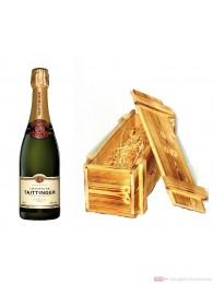 Taittinger Champagner Brut Reserve in Holzkiste geflammt 12% 0,75l Flasche