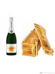 Veuve Clicquot Champagner Demi Sec in Holzkiste geflammt 12 % 0,75 l. Flasche