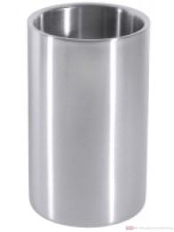 Contacto Wein Flaschenkühler doppelwandig ganz aus Edelstahl Flaschendicke 9,5 cm schwere Qualität Höhe 19cm
