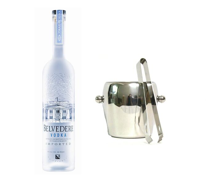 Vodka der Marke Belvedere 40% 0,7l Flasche + Eiskübel 1l und Eiszange