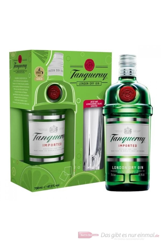 Tanqueray Gin in Geschenkverpackung mit Gla