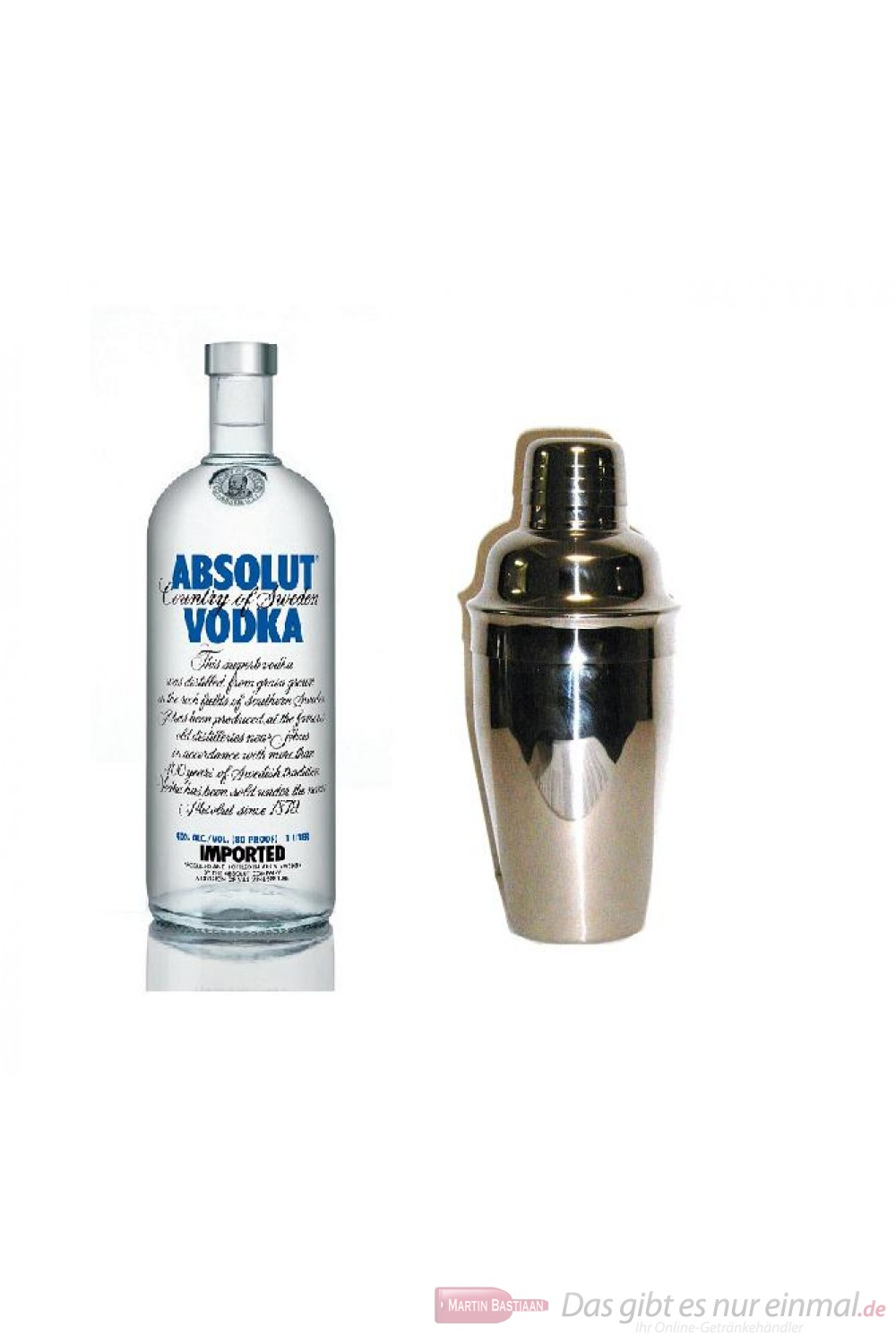 Absolut Wodka 40% 1,0l Vodka Flasche + Cocktailshaker