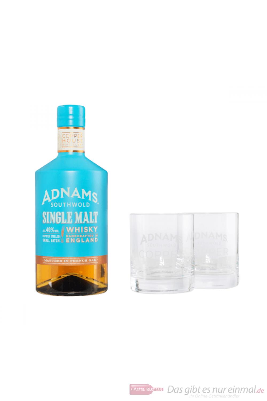 Adnams Single Malt Whisky + 2 Gläser 0,7l