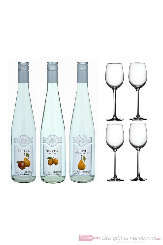 Alde Gott Obstbrandset Williams/Mirabelle/Obstbrand 40% 3-0,7l Flaschen + 4 Likör Gläser