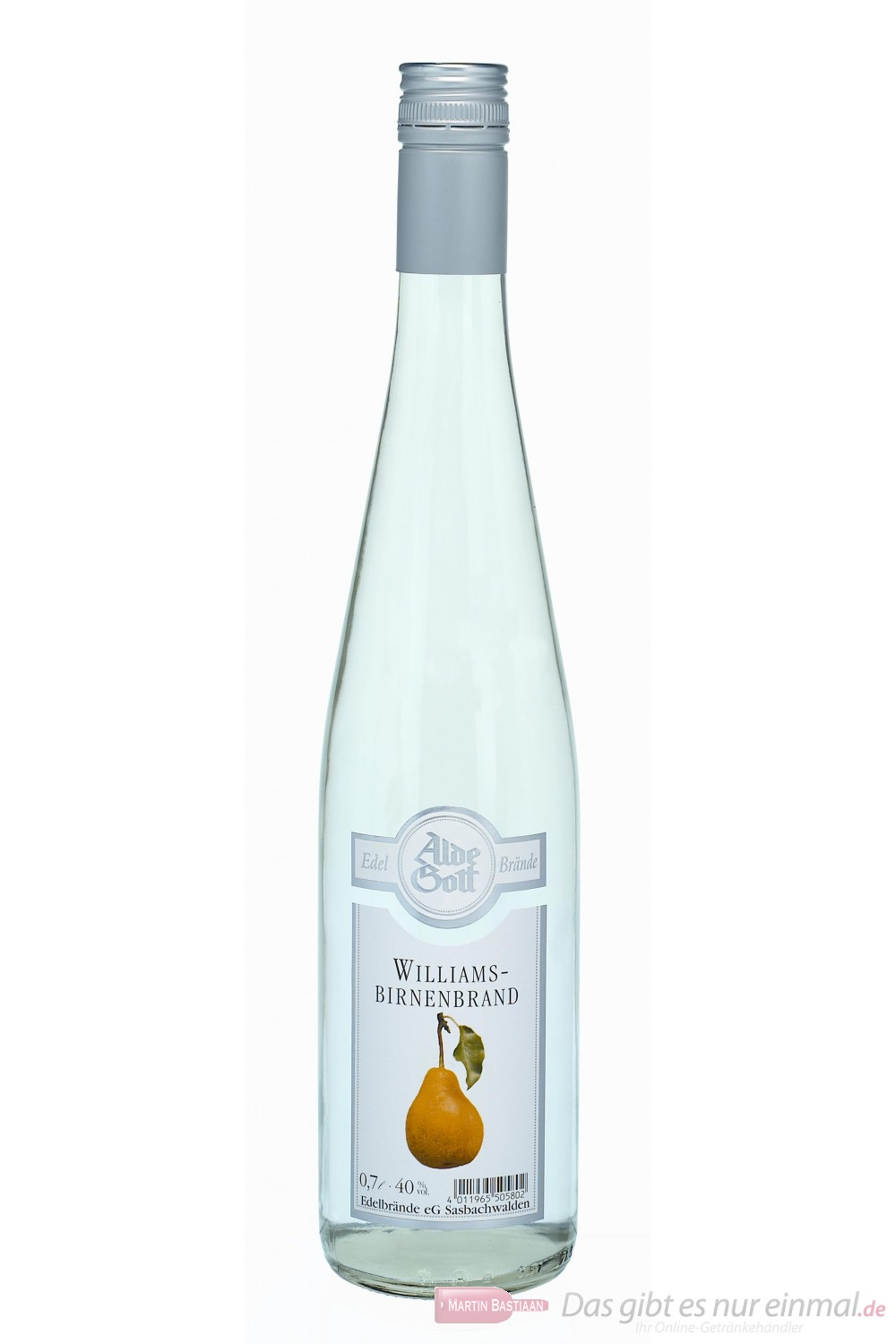 Alde Gott Williams Birnen Brand Obstler 40% 0,7l Flasche Obstbrand