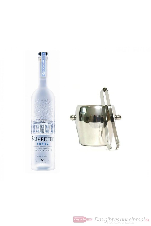 Belvedere Wodka 40% 0,7l Vodka Flasche + Eiskübel 1l und Eiszange