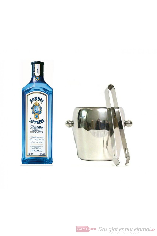 Bombay Sapphire Gin 40% 1,0l Flasche + Eiskübel 1l und Eiszange