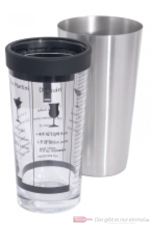 Contacto Boston Cocktail Shaker zweiteilig aus Edelstahl mit schwarzem Dichtungsring aus Santopren mit Cocktailvorschlägen englisch bedruckt 0,4l