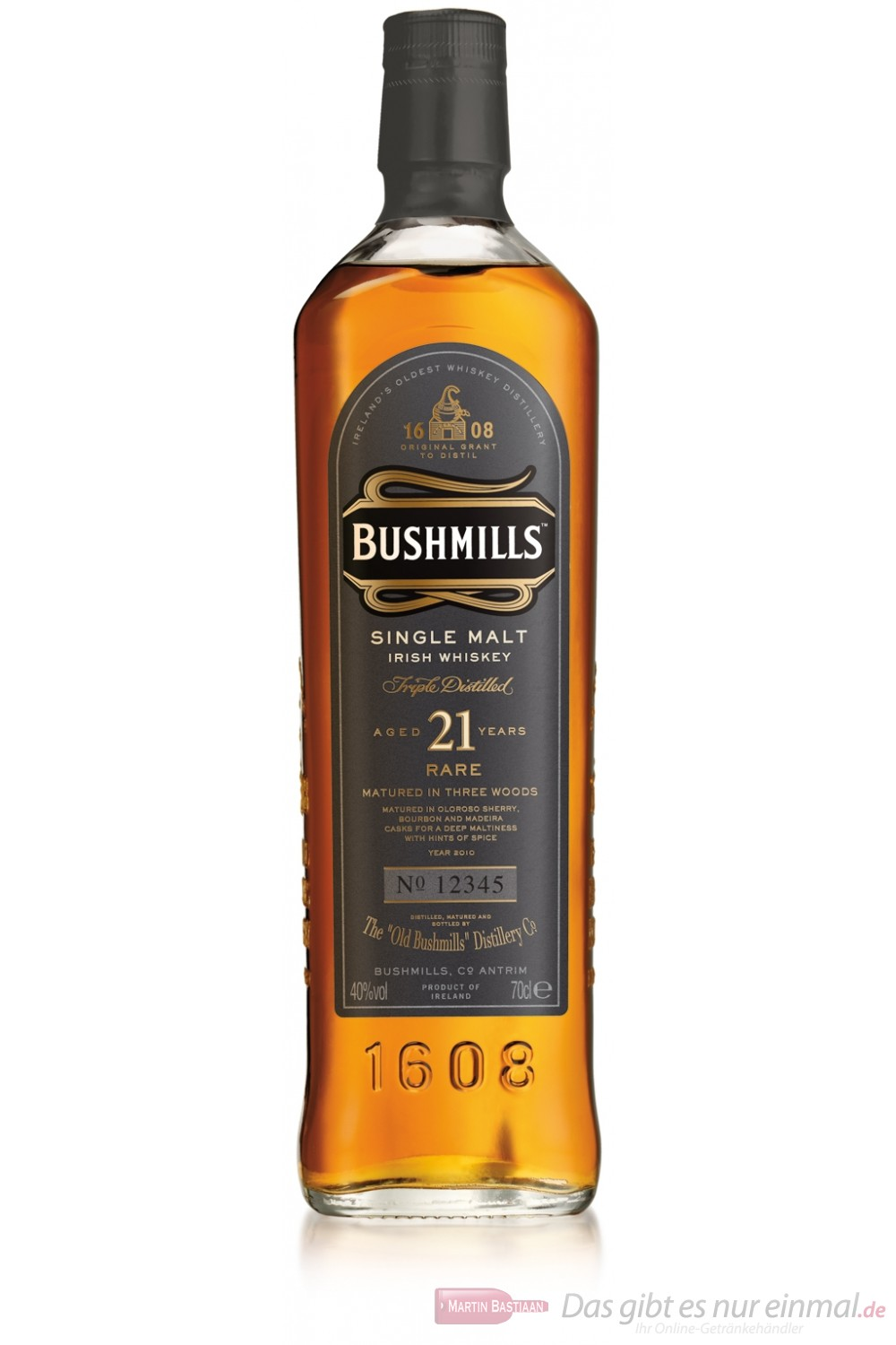 Bushmills 21 Jahre Single Malt Irish Whiskey 40% 0,7l Whisky Flasche