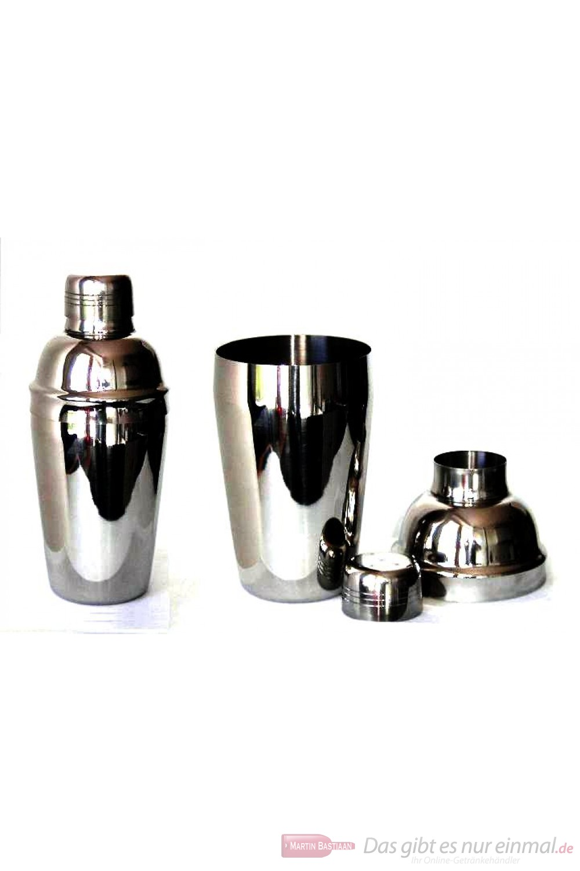 Cocktailshaker Edelstahl hochglanzpoliert 3-teilig mit Sieb und Deckel 700ml