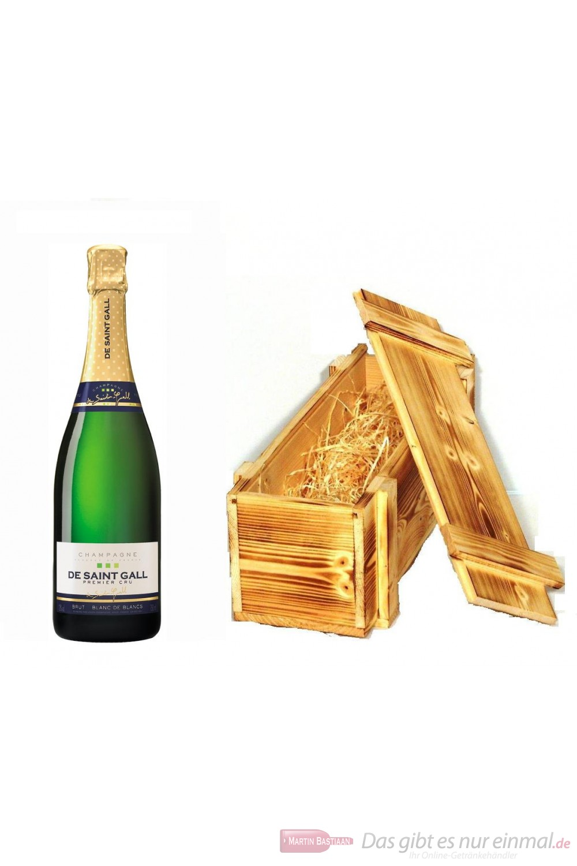 De Saint Gall Champagner Premier Cru Brut Blanc de Blanc in Holzkiste geflammt 12 % 0,75 l. Flasche
