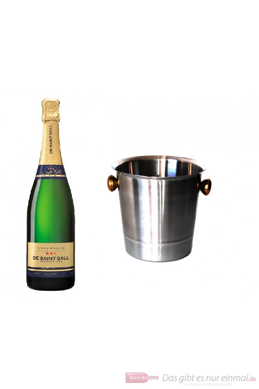 De Saint Gall Champagner Premier Cru Brut Millesime 2004 Blanc de Blanc im Champagner Kühler Aluminium poliert 12% 0,75l Flasche