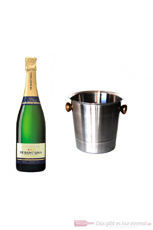 De Saint Gall Champagner Premier Cru Brut Tradition im Champagner Kühler Aluminium poliert 12 % 0,75l Flasche