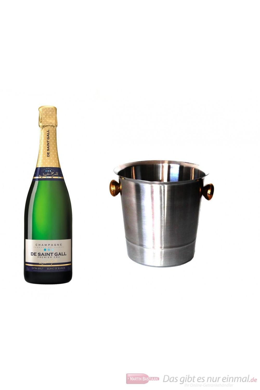 De Saint Gall Champagner Premier Cru Extra Brut Blanc de Blanc im Champagner Kühler Aluminium poliert 12% 0,75l