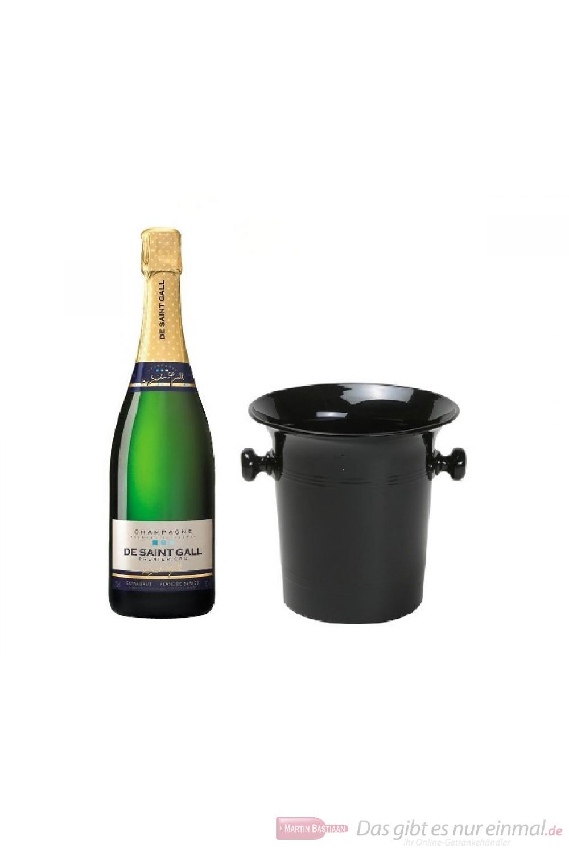 De Saint Gall Champagner Premier Cru Extra Brut Blanc de Blanc in Champagner Kübel schwarz glänzend 12% 0,75l