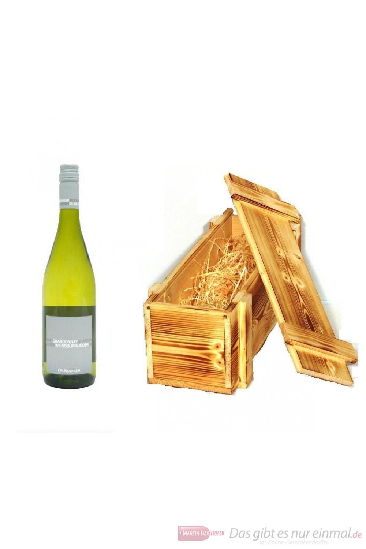Dr. Köhler weißburgunder / Chardonnay Qba trocken Weißwein 2010 12,5% 0,75l Flasche in Holzkiste geflammt