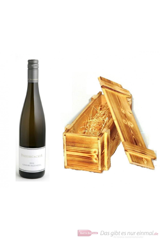 Dreissigacker Grauburgunder Weißwein Qba trocken 2010 13% 0,75l Flasche in Holzkiste geflammt