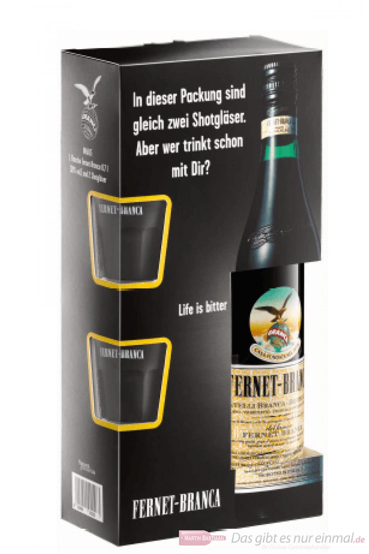 Fernet Branca in Geschenkverpackung mit 2 Gläsern