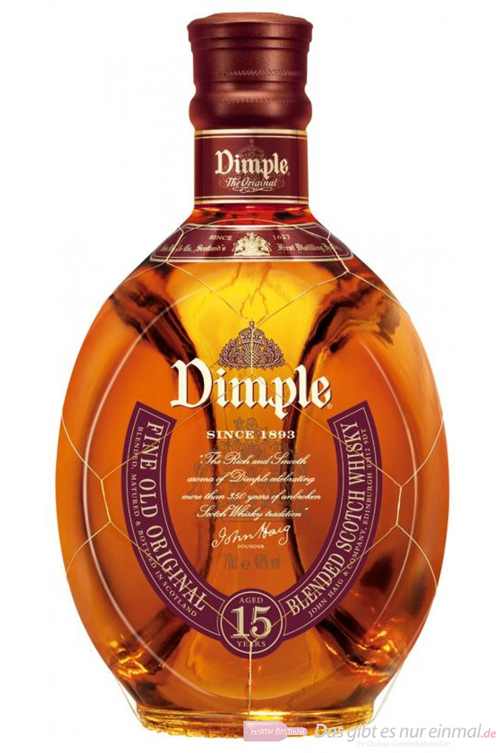 Dimple Scotch 15 Jahre Blended Scotch Whisky 40% 0,7l Flasche