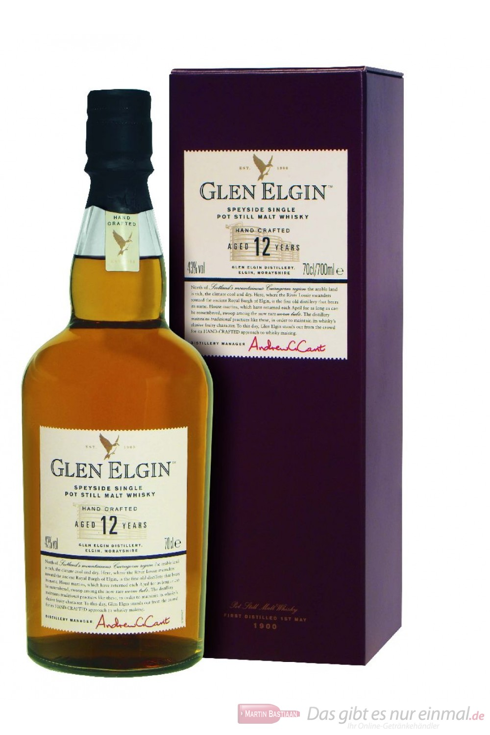Glen Elgin 12 Jahre Speyside Single Pott Still Malt Whisky 43% 0,7l Flasche