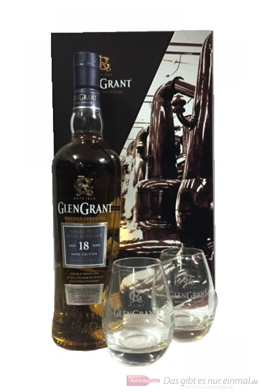 Glen Grant 18 Years in Geschenkverpackung mit Gläsern