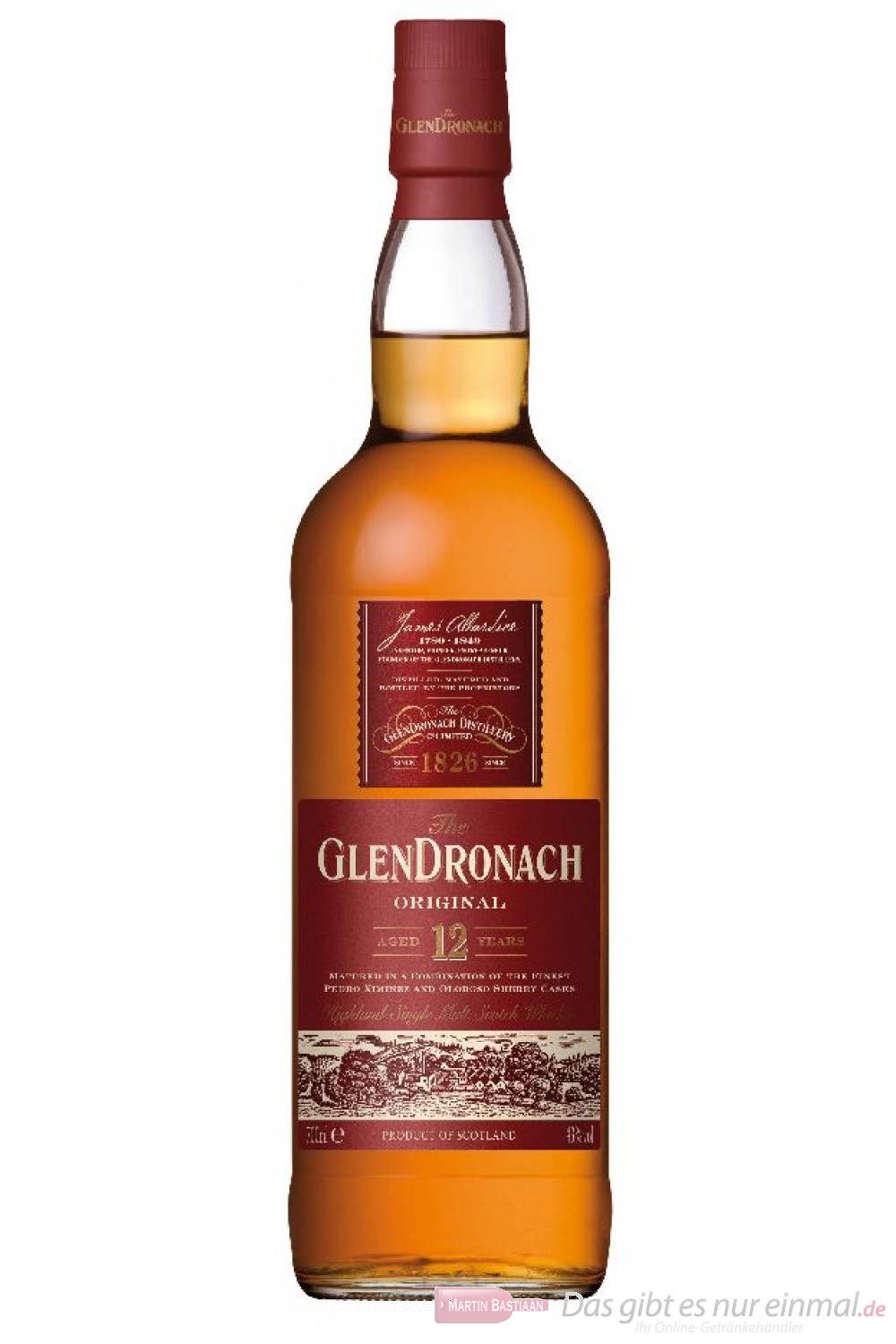 Glendronach 12 Years Highland Single Malt Scotch Whisky 40% 0,7l Flasche