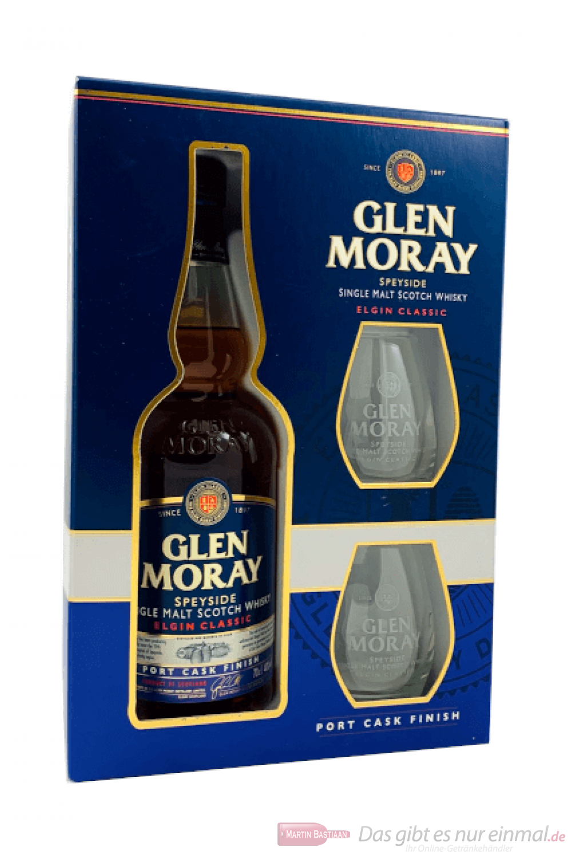 Glen Moray Elgin Classic Port Cask Finish mit Glas Whisky 0,7l