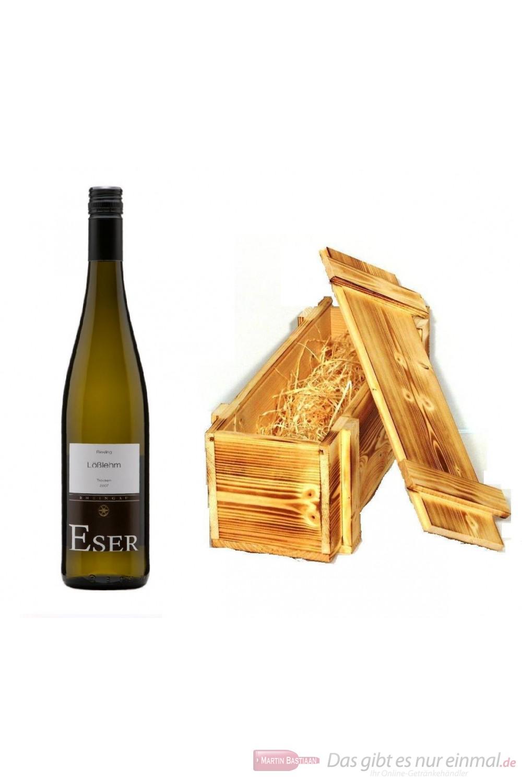 Hans Theo Eser Riesling Lößlehm Qba trocken Weißwein 2008 11,5% 0,75l Flasche in Holzkiste geflammt