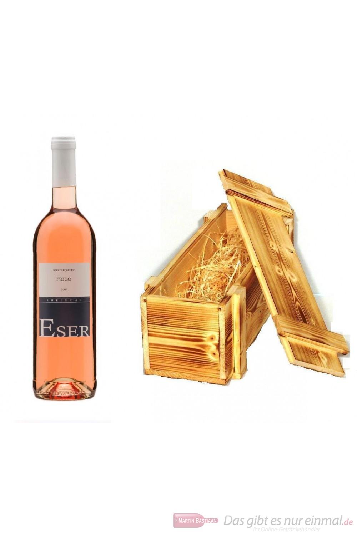 Hans Theo Eser Spätburgunder Rosé Qba trocken 2011 11,0% 0,75l Flasche in Holzkiste geflammt