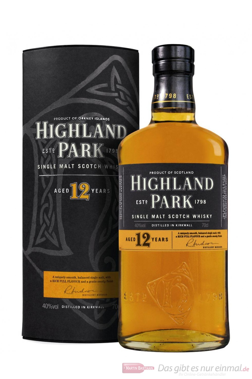 Highland Park 12 Jahre Orkney Single Pure Malt Scotch Whisky 40 % 0,7l Flasche