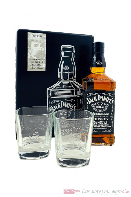 Jack Daniels + 2 Gläser in Geschenkverpackung Tennessee Whiskey 0,7l