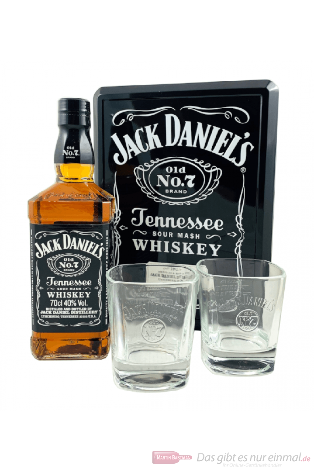 Jack Daniels Metallbox + 2 Gläser Tennessee Whiskey 0,7l