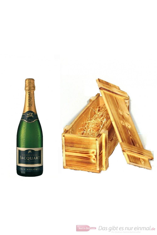 Jacquart Brut Mosaique Champagner in Holzkiste geflammt 12% 0,75l Flasche