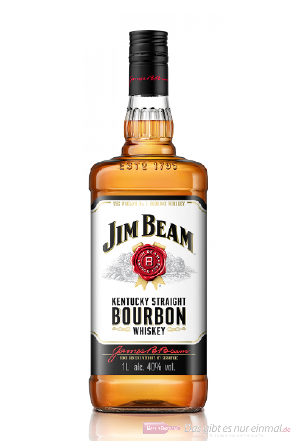 jim beam kentucky straight bourbon whiskey 40 1 0 l flasche. Black Bedroom Furniture Sets. Home Design Ideas
