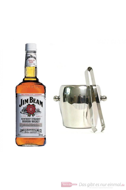 Jim Beam Kentucky Straight Bourbon Whiskey 40 % 1,0 l, Flasche + Eiskübel 1l und Eiszange