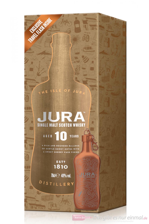 Isle of Jura 10 Years + Hip Flask Single Malt Scotch Whisky 0,7l
