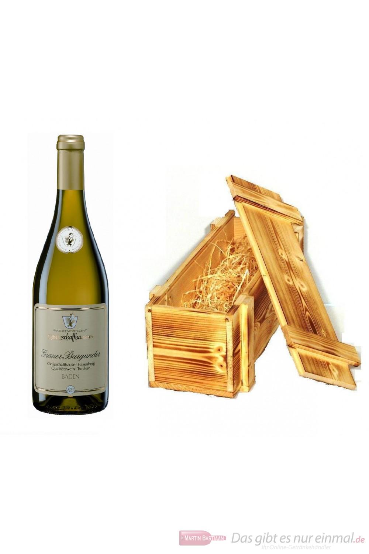 Königschaffhausen Grauer Burgunder Hasenberg Qba trocken Weißwein 2009 12,5% 0,75l Flasche in Holzkiste geflammt