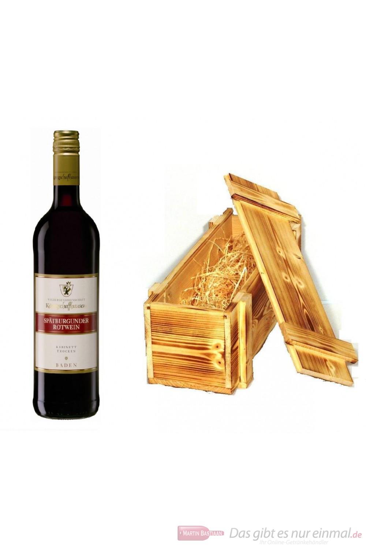Königschaffhausen Spätburgunder Kabinett trocken Rotwein 2009 11,5% 0,75l Flasche in Holzkiste geflammt