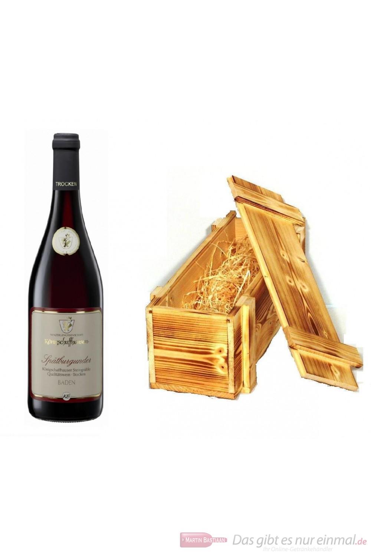 Königschaffhausen Spätburgunder Steingrüble Qba trocken Rotwein 2008 13% 0,75l Flasche in Holzkiste geflammt