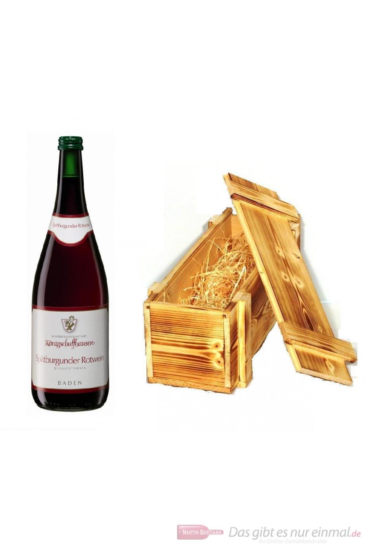 Königschaffhausen Spätburgunder Vulkanfelsen Qba trocken Rotwein 13% 1,0l Flasche in Holzkiste geflammt