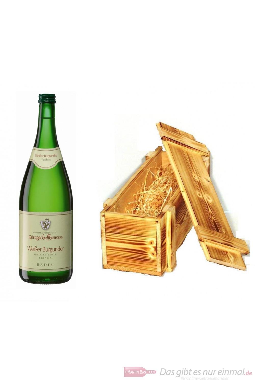 Königschaffhausen Weißburgunder Qba trocken Weißwein 2009 12,5% 1,0l Flasche in Holzkiste geflammt