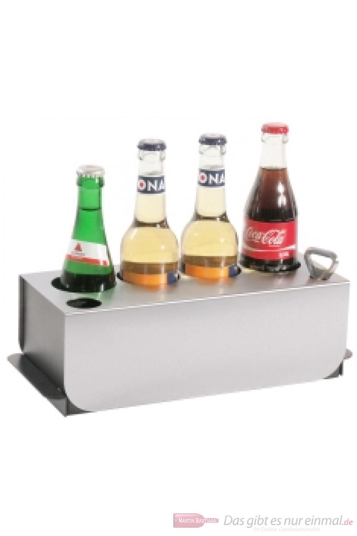 Contacto Konferenz Flaschenkühler aus schwarzem POM Abdeckung aus Edelstahl zur Kühlung von vier handelsüblichen Flaschen bis 64 mm Durchmesser